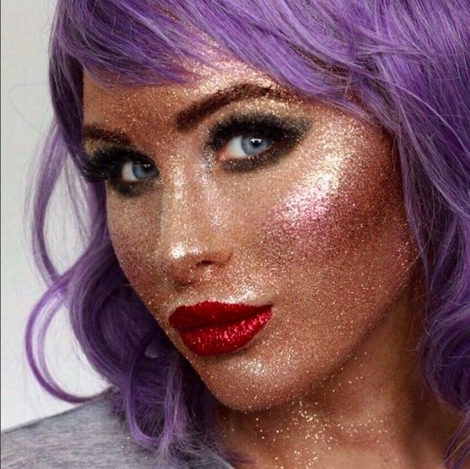 Full-Face Glitter Makeup Look