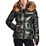 S13 Kylie Camo & Faux Fur Puffer Coat