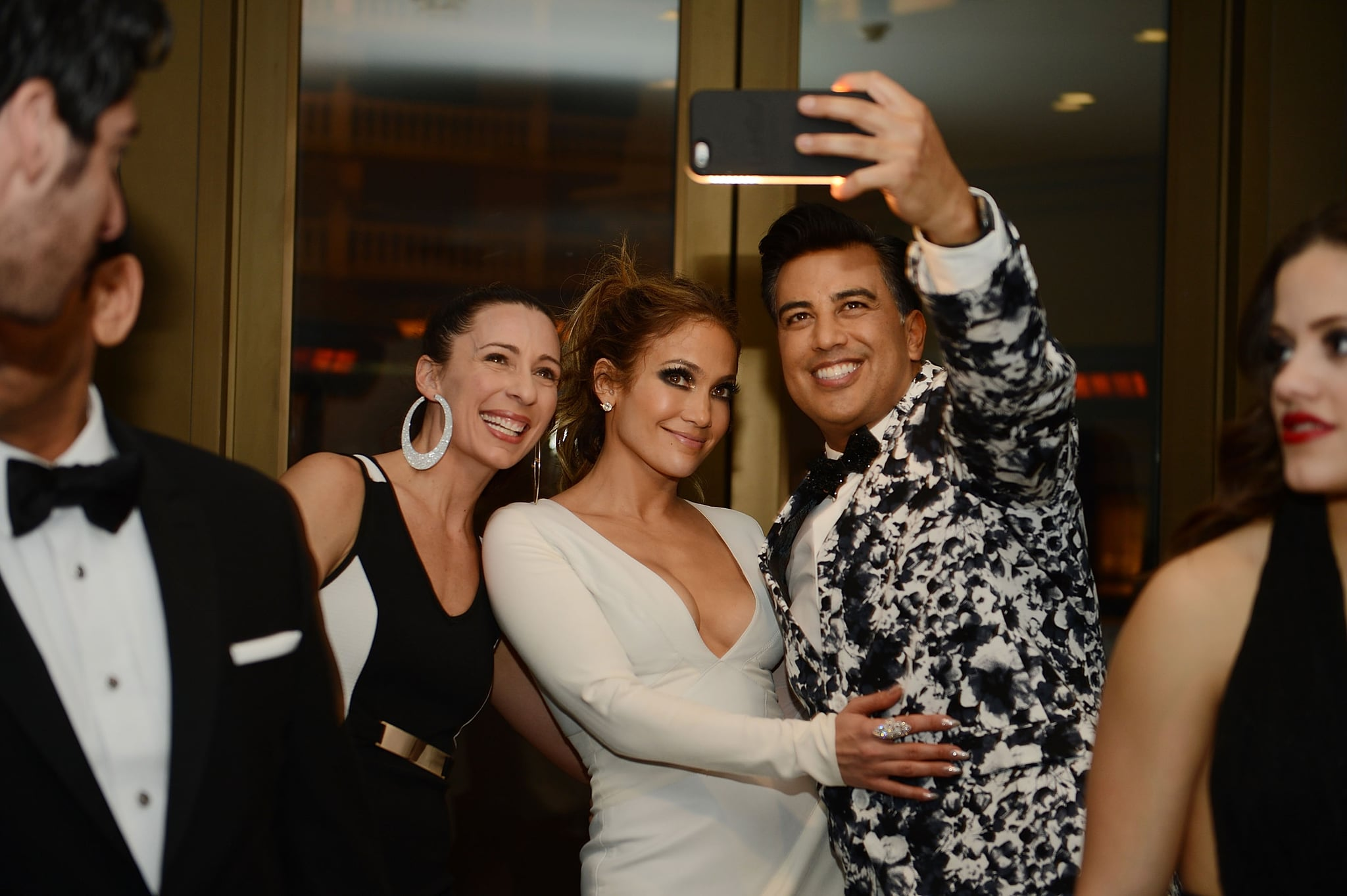 LAS VEGAS, NV - JANUARY 20:  Tabitha Dumo, Jennifer Lopez and Napoleon Dumo attend the after party for the debut of the new headlining residency show JENNIFER LOPEZ: ALL I HAVE at Mr Chow Caesars Palace on January 20, 2016 in Las Vegas, Nevada.  (Photo by Denise Truscello/WireImage)