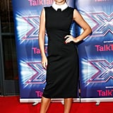 A chic little Jason Wu dress with a contrasting collar was Cheryl's pick for the X Factor press launch in 2014.