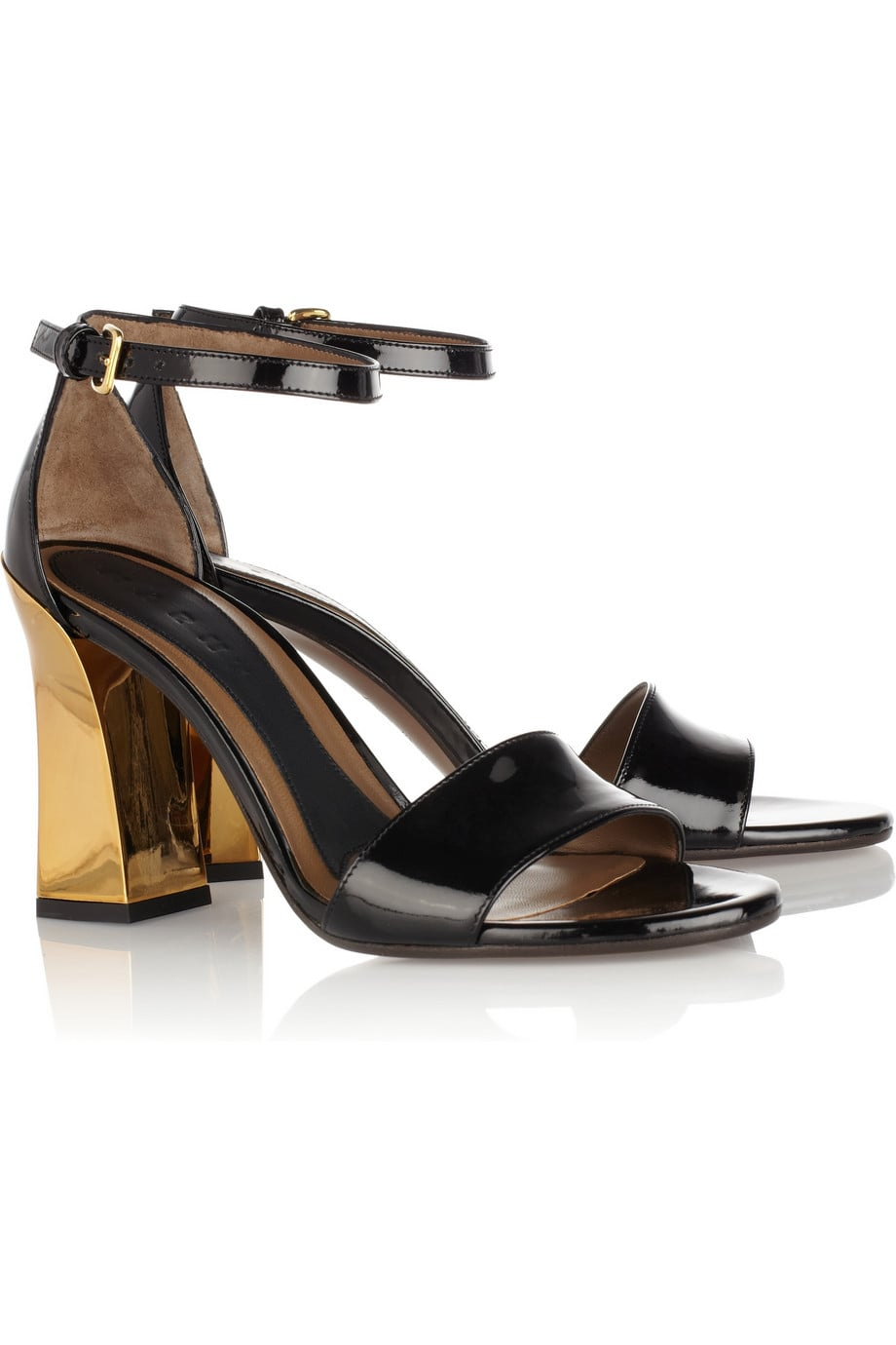 """I was sold as soon as I spotted the chunkier gold heel, but as a whole, Marni's patent leather sandals ($738) are essentially the answer to all my """"what shoes should I wear with this dress?"""" problems. — Marisa Tom, associate editor"""
