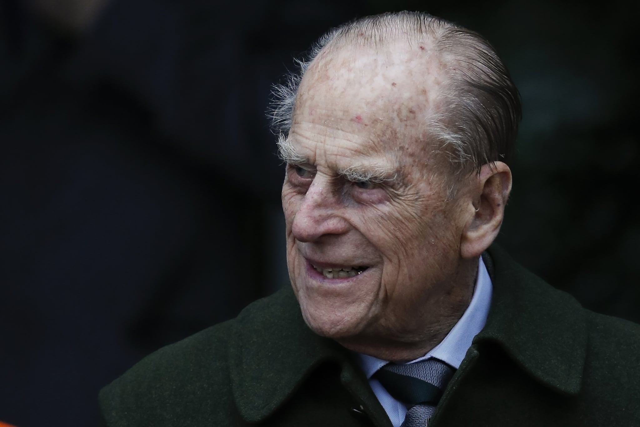 Britain's Prince Philip, Duke of Edinburgh leaves after attending Royal Family's traditional Christmas Day church service at St Mary Magdalene Church in Sandringham, Norfolk, eastern England, on December 25, 2017. / AFP PHOTO / Adrian DENNIS        (Photo credit should read ADRIAN DENNIS/AFP/Getty Images)