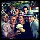 "Kelly Osbourne hung out with Julianne Hough, Adam Shankman, and a group of friends at Fergie's shower. Guests sipped on Patron ""Ferg-aritas"" at the bash. Source: Instagram user kellyosbourne"