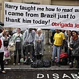 Fans hold up a large sign at the Harry Potter and the Deathly Hallows Part 2 premiere.