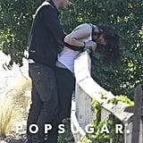 Kristen Stewart held onto Rupert Sanders's hands.