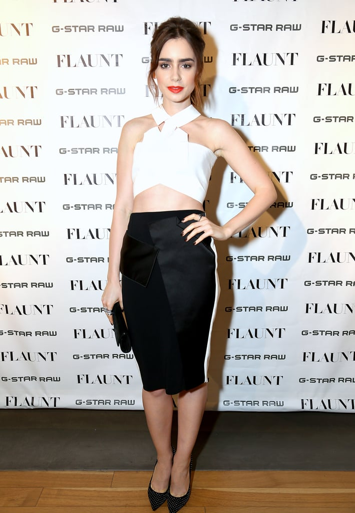 Lily celebrated with Flaunt magazine in a chic Roland Mouret crop top and sleek pencil skirt.