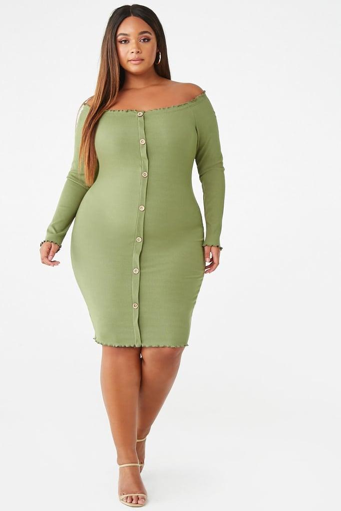 Tiana: Plus-Size Lettuce-Edge Bodycon Dress