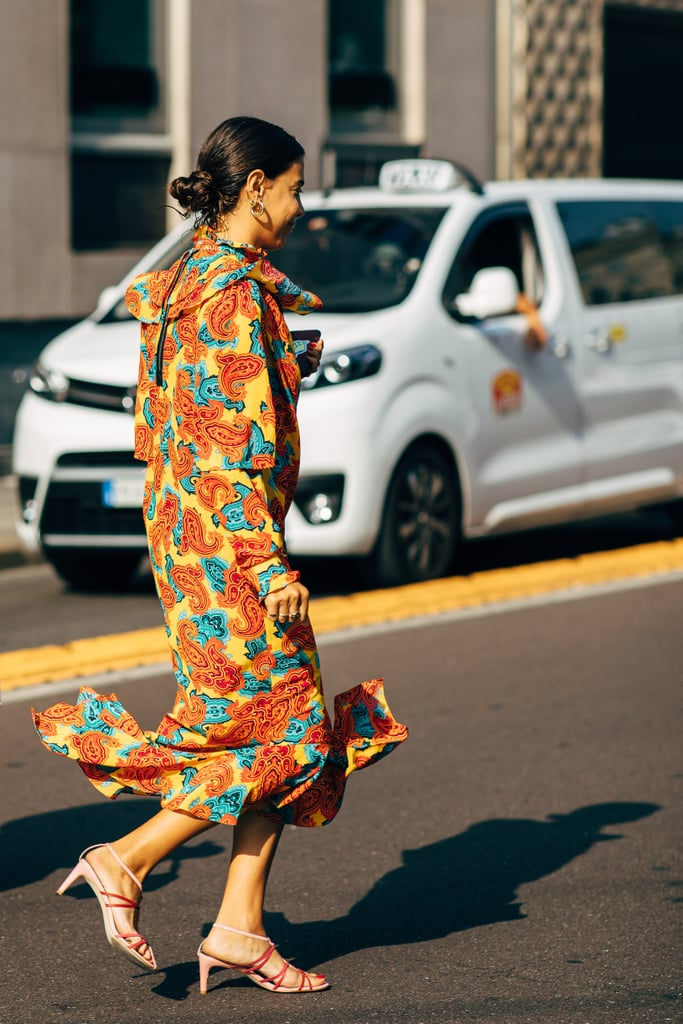 Match your heels with a colorful midi dress.