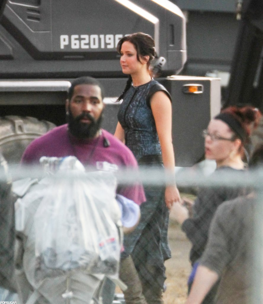 Jennifer Lawrence was in costume on the set of The Hunger Games: Catching Fire.