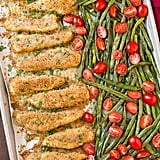 Sheet-Pan Roasted Garlic Parmesan Chicken Tenders With Green Beans and Tomatoes
