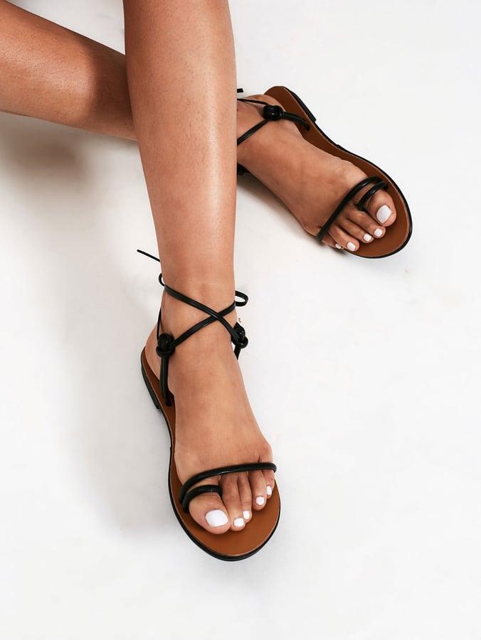 Shein Knot Design Toe Ring Flat Sandals | Gwyneth Paltrow