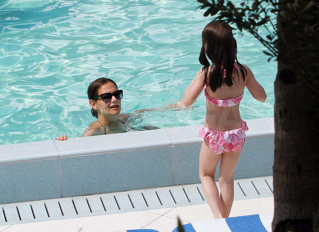 Katie Holmes and Suri Cruise at the pool in Miami.