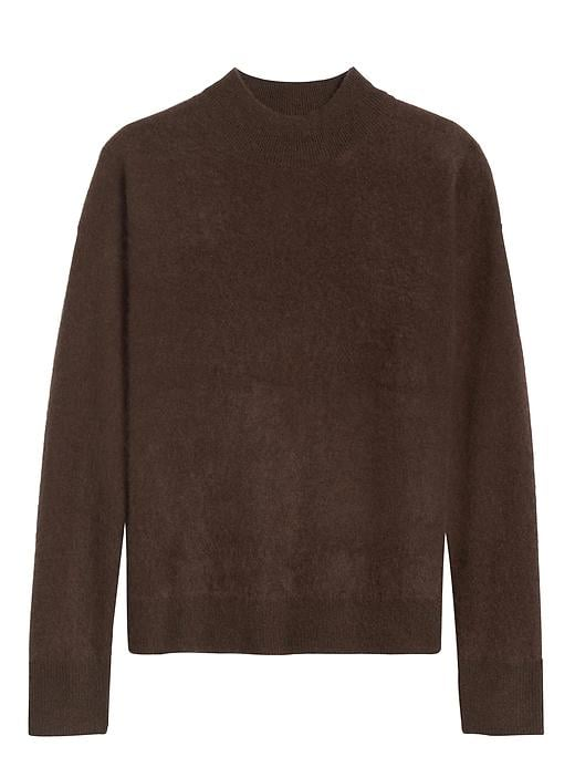 Brushed Cashmere Mock-Neck Sweater