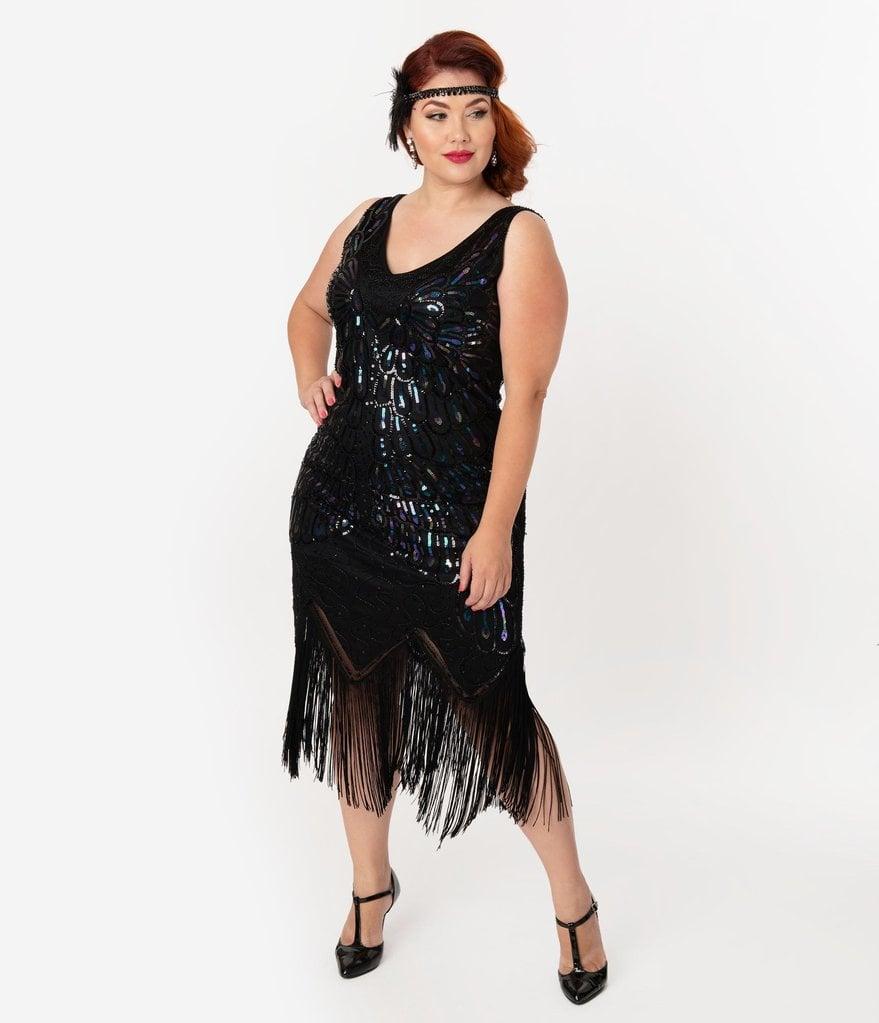 Unique Vintage Plus-Size Black Iridescent Sequin Sleeveless ...