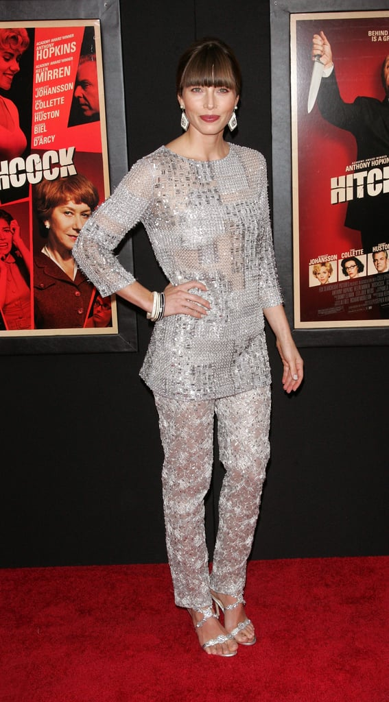 Jessica Biel wore silver at the Hitchcock premiere in NYC.