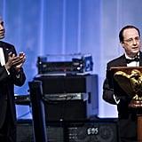 Obama applauded Hollande.
