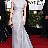 Silver and stunning — Diane's Emilia Wickstead gown was one of the best of the night at the 2015 Golden Globes.