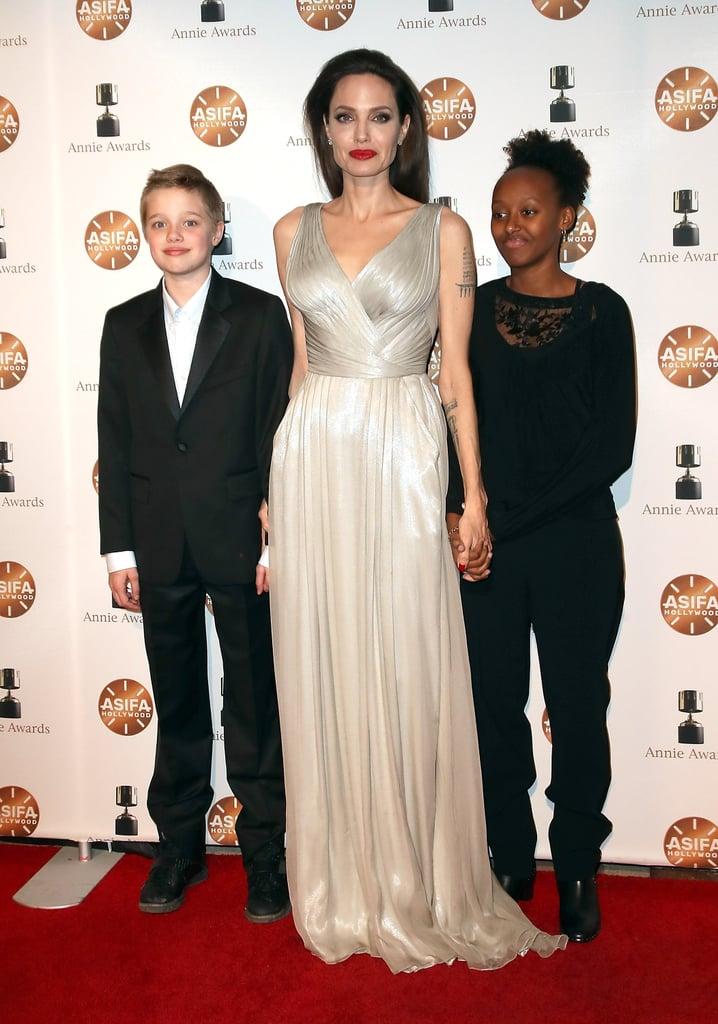 Angelina Jolie Silver Versace Dress
