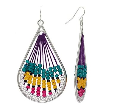 Sonoma Life + Style Silver Tone Bead Teardrop Earrings ($5)