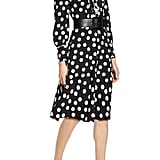 Halogen® x Atlantic-Pacific Button & Pleat Polka Dot Fit & Flare Dress