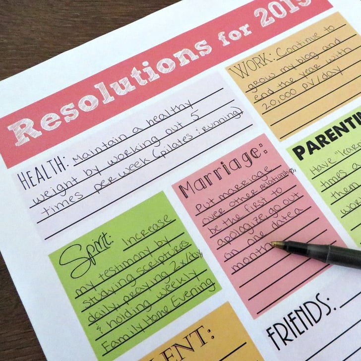 2015 new years resolution printables popsugar smart living