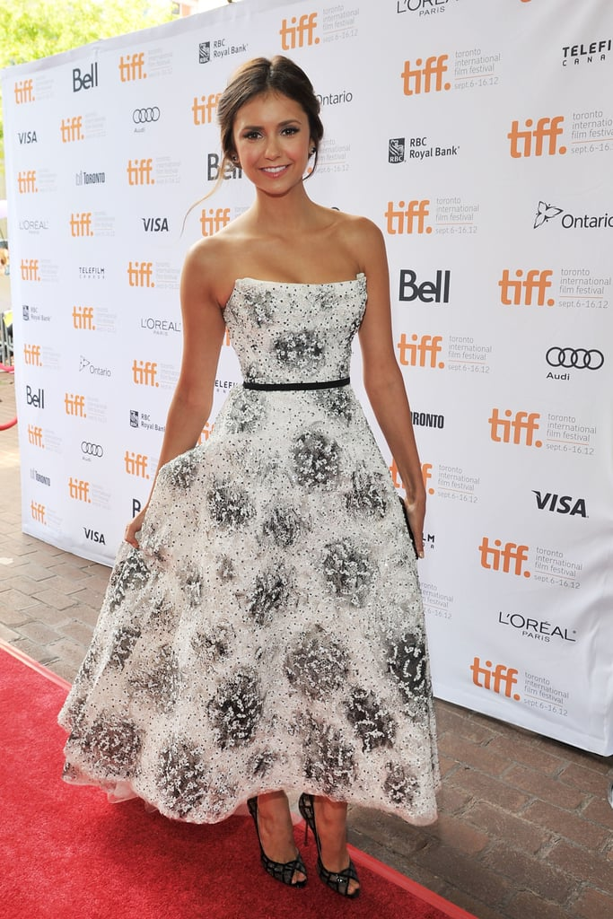 The style star showed off her feminine side in this strapless Monique Lhuillier dress at the 2012 Toronto International Film Festival.