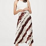 H&M Calf-length Satin Skirt