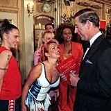 Prince Charles, Mel B, Emma Bunton, Geri Halliwell, and Mel C