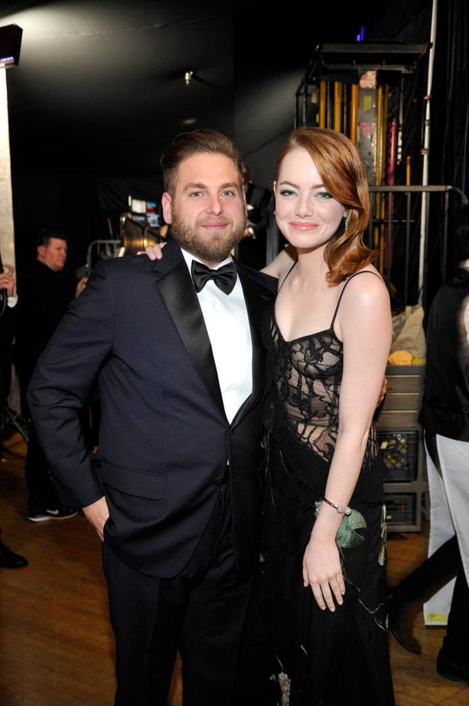Pictured: Jonah Hill and Emma Stone