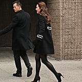 Kate Finished Her Look With Her Mulberry Clutch, Black Tights, and Black Pumps