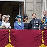 Kate laughed while looking in Prince Charles's direction at a 2018 Buckingham Palace event.