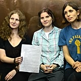 Members Nadezhda Tolokonnikova, 23, Maria Alyokhina, 24, and Yekaterina Samutsevich, 29, each received two-year sentences.