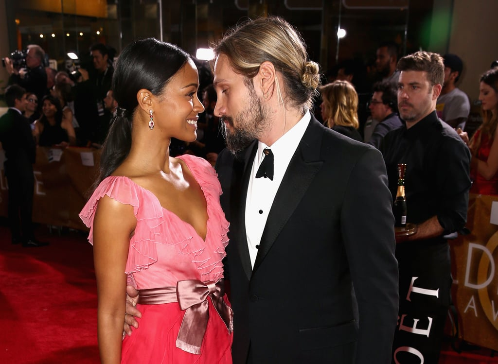 Zoe Saldana and her husband, Marco Perego, have stolen our hearts again on the red carpet. The in-love duo, who are parents to twins Bowie and Cy, couldn't keep their eyes or hands off each other as they posed for the cameras at the 2017 Golden Globe Awards in Beverly Hills, CA. From romantic stares to fierce smolders, they might have BFFs Gael García Bernal and Diego Luna beat as the cutest (read: hottest) couple to hit the carpet. What do you think? Keep scrolling to swoon over more pictures of Zoe — wearing Gucci! — and Marco, then admire their sweetest Instagrams ever.      Related:                                                                                                           Zoe Saldana Is Wearing a Grown-Up Version of Hermione Granger's Yule Ball Dress