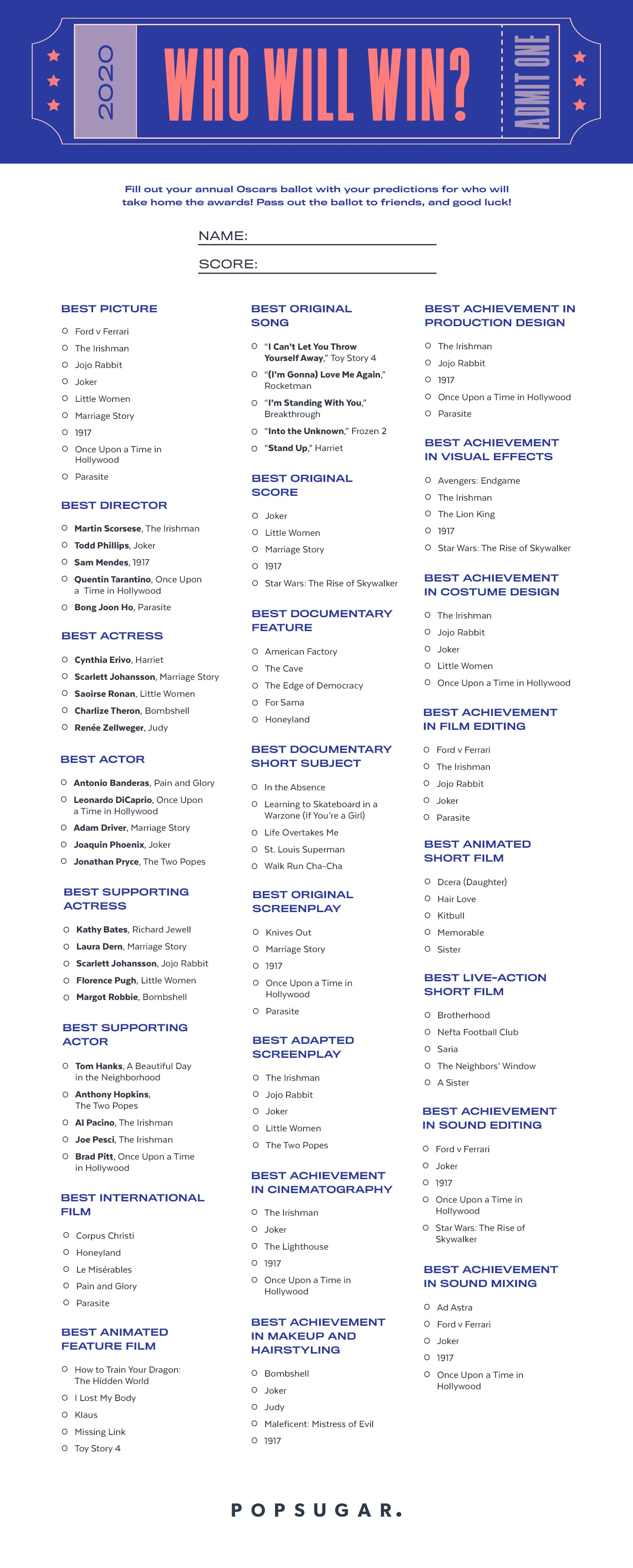 It is a photo of Fabulous Oscars Printable Ballots