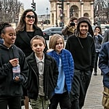Angelina Jolie and Kids at the Louvre in Paris January 2018