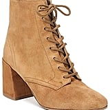 Vince Halle Suede Lace Up High Block Heel Booties