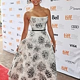 The style star showed off her ultra-feminine side in this strapless Monique Lhuillier dress at the 2012 Toronto International Film Festival.