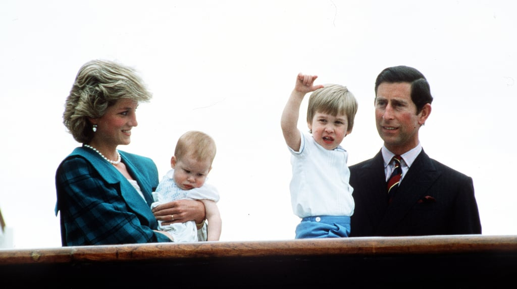 Harry didn't appear as interested in the crowd as his brother William when his family boarded the Royal Yacht Britannia in 1985.