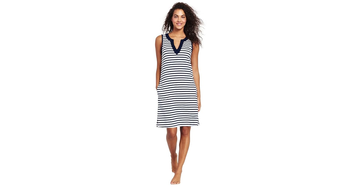 edd937a32a Lands' End Women's Cotton Jersey Sleeveless Tunic Dress Swim Cover-Up Print  | Best Coverups For Moms | POPSUGAR Family Photo 13