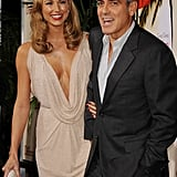 George Clooney and Stacy Keibler shared a laugh before the premiere of The Descendants in LA.