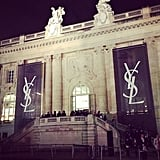 The Grand Palais got a bit logo-happy for the Saint Laurent show, which included a moving light beam installation and a punkified Spring collection. Source: Instagram user popsugarfashion
