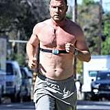 Liev Schreiber ran shirtless through LA on Friday.