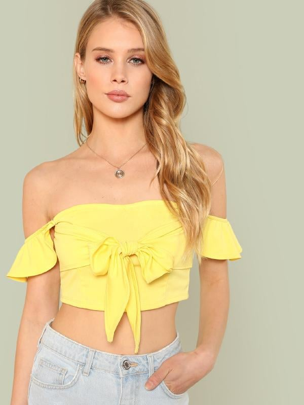 Shein Bow Tied Solid Crop Top