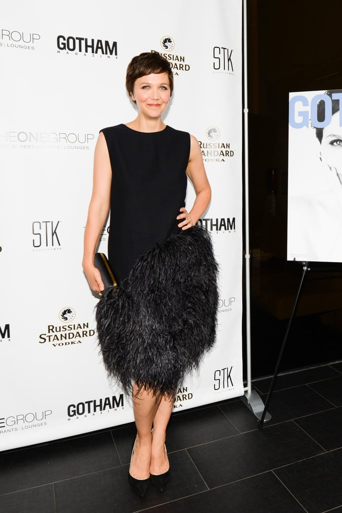 A finely feathered Maggie Gyllenhaal feted her Gotham magazine cover in New York.