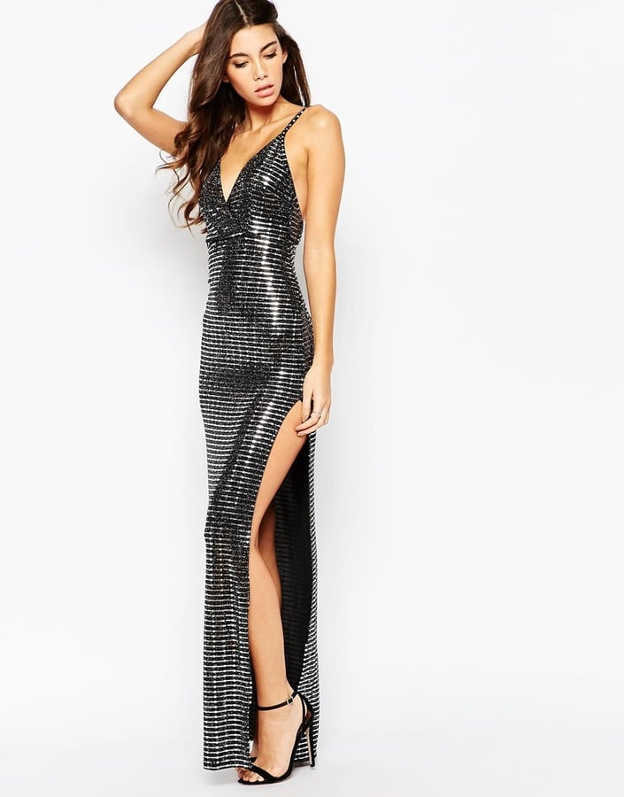 Oh My Love Metallic Plunge Front Maxi Dress with Thigh Split ($104)