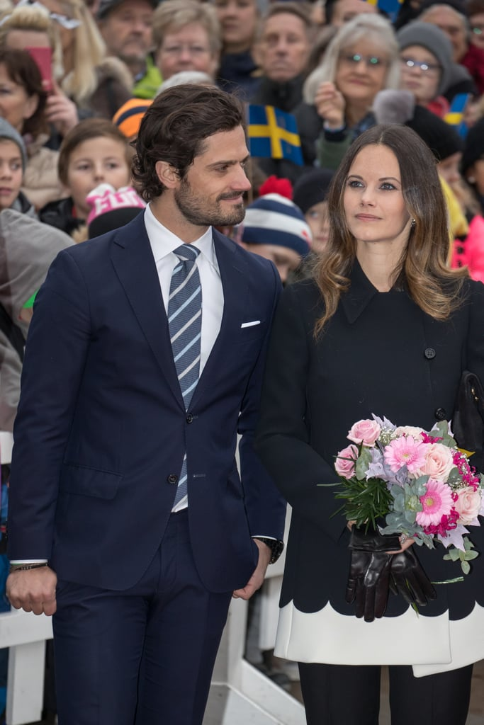 Prince Carl Philip and Princess Sofia of Sweden were all smiles while visiting Värmland on Friday. The royal couple was greeted with flowers as they arrived at city hall, where they had lunch and met with children. During their visit, Carl and Sofia also stopped by Soma, a company that makes valves for pulp and paper industries, unveiled a memorial for war veterans at the Brigade Museum in Karlstad, and attended a dinner hosted by the governor. Sadly, their adorable son, Prince Alexander, wasn't with them, but Sweden's Royal Palace did release new photos from his christening at the Palace Chapel in Drottningholm Palace last month.        Related:                                                                                                           This Soon-to-Be-Married Royal Couple Rivals the Excitement of Will and Kate