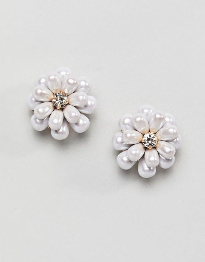 Asos Occasion Flower Pearl Stud Earrings