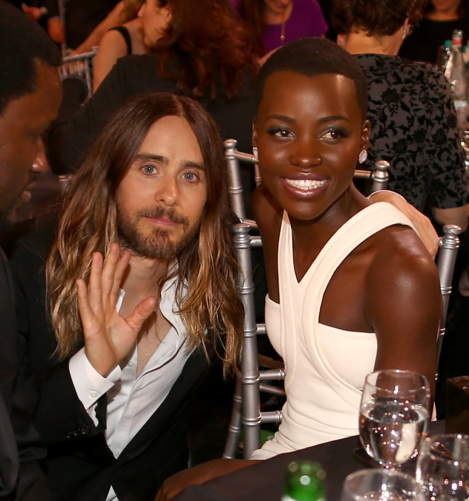 Jared Leto knelt down to talk to her during the Critics' Choice Awards.