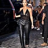 Kim Kardashian's Black Leather Pants in NYC