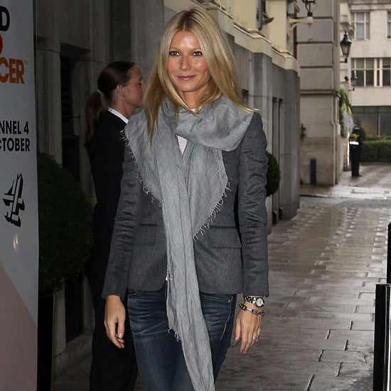 Gwyneth Paltrow Wearing Gray Blazer